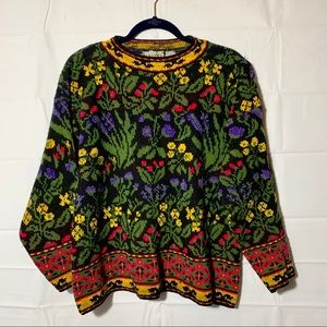 Vintage colorful grandma sweater 90s wool size M